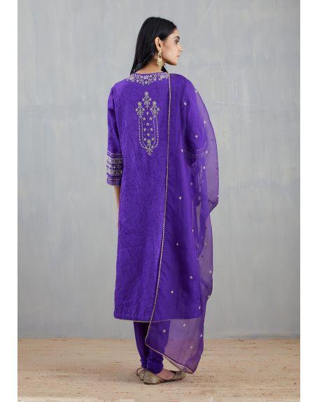 KAVITA BHARTIA Purple Embroidered Kurta Set