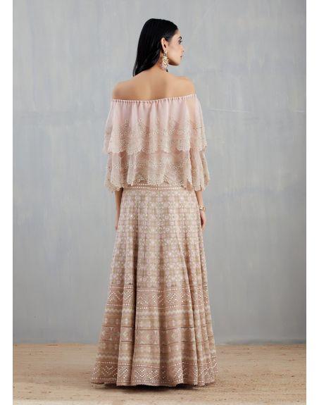 KAVITA BHARTIA Nude Pink Cape with Skirt