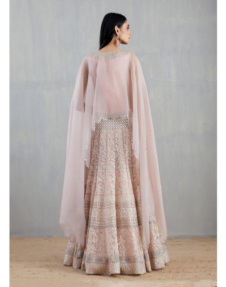 KAVITA BHARTIA Nude Pink Hand Embellished Cape with Skirt