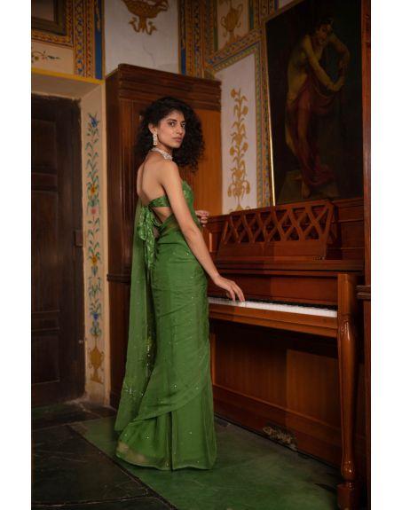 GEROO BY NEELAM Green Mukeish Work Chiffon Saree