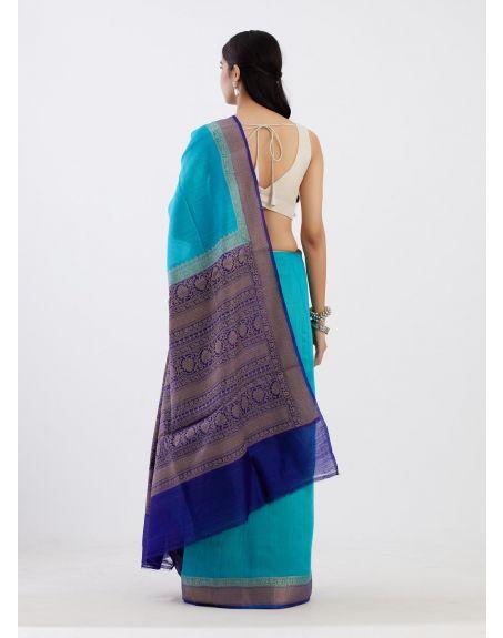 TRAVELLING TOTE Blue Banarasi Munga Silk Saree