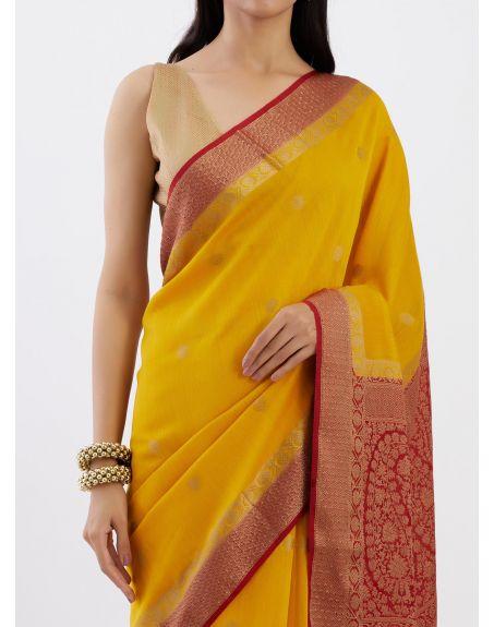 TRAVELLING TOTE Yellow Banarasi Munga Silk Saree