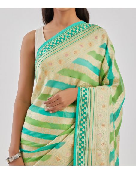 TRAVELLING TOTE Green Banarasi Khaddi Georgett Rangkart Saree