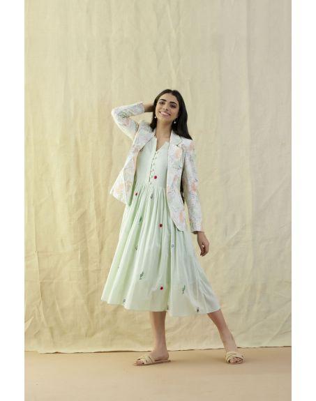LABEL NIMBUS Sleeveless Sea Green Mul Dress.
